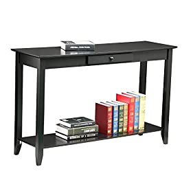 Yaheetech 2 Tiers Wood Console Sofa Table with Drawer and Shelf Living Room Entryway Table, Black