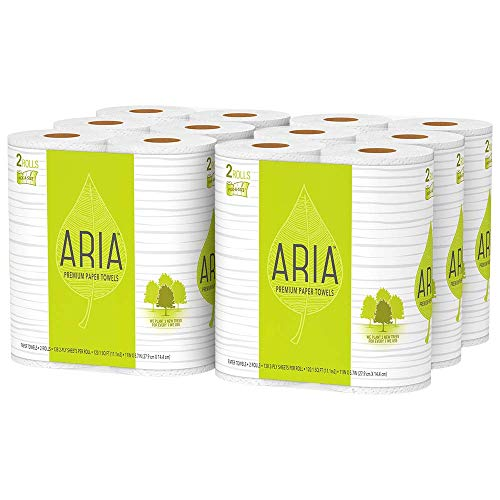 Aria Premium, Earth Friendly Paper Towels, 12-Count, Pick A Size, 12=29 Regular Rolls, Eco Friendly Paper Towels