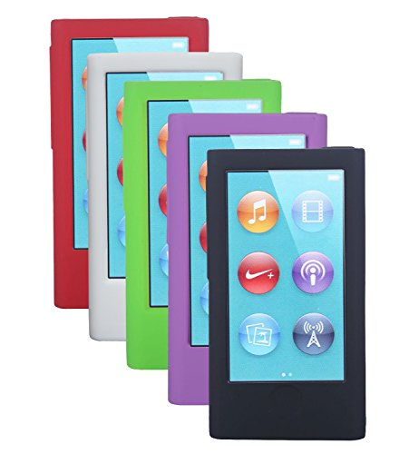 [5pcs] New iPod Nano 8th Generation [2015 Release] / iPod Nano 7th Gen Case Cover Accessories - Soft Silicone Gel Skins Cases Covers for New iPod Nano 8th Gen (2015 New Model) (Gen Gel)