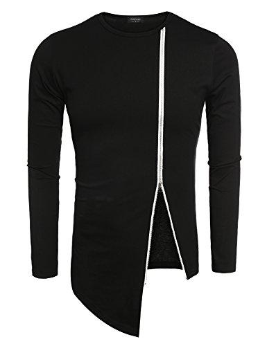 Coofandy Men's Shirts Casual Zipper Shirt Irregular Long Sleeve T Shirt,Black, Large