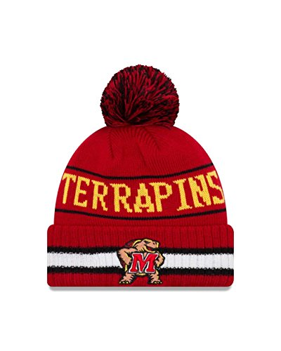 - New Era Maryland Terrapins College Vintage Select Knit Pom Beanie - Red, One Size