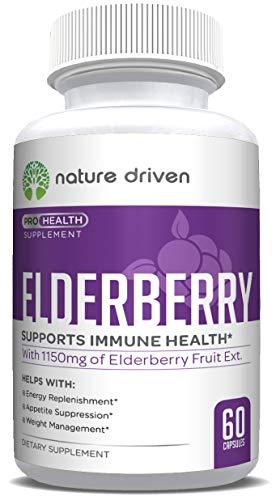 Natural Elderberry Immune Boosting Supplement - Sambucus Nigra Elderberry Capsules - Rich in Minerals and Antioxidants - Natural Immune Booster for Women and Men - 60 Capsules ()