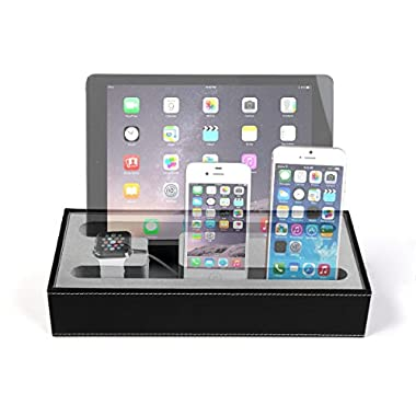 Konsait 4 in 1 Multi Device Organizer for Apple Watch Stand and Iphone iPad Charging Station,Iphone iPad Charging Dock