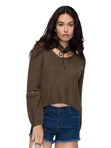 Choies Women Army Green V-neck Choker Zipper Sleeve Knit Jumper Sweater Onesize