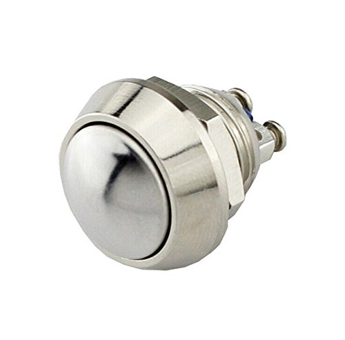 yueton DC 36V 2A 12mm Round Momentary Metal Push Button Switch, Screw Termianls