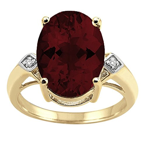 - 14x10 MM Garnet and Diamond Ring in 10K Yellow Gold