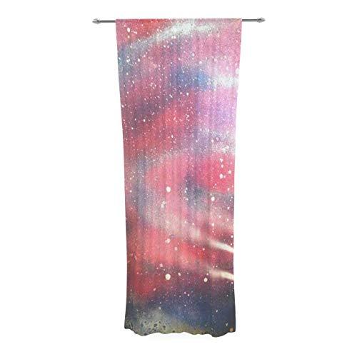 Aloundi Infinite Spray Art ;Cascade Swirl; Red Pink Decorative Sheer Curtain ()