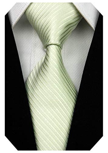 Wehug Men's Classic Solid Tie Silk Woven Necktie Jacquard Neck Light Green Ties For Men -