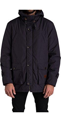 (Billabong Stafford Parka Coat Jacket Coat Black - Canvas Parka Jacket - Sherpa Lining Throughout - Adjustable Cuffs and Hood )