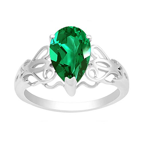 Sterling Silver with Green Emerald Pear Shape Anniversary Ring