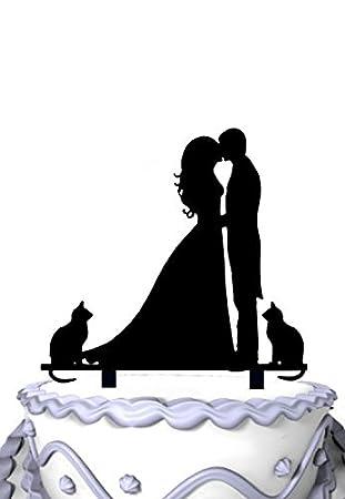 meijiafei novio y novia besándose y 2 gatos decoración para tarta para boda: Amazon.es: Hogar