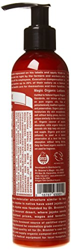 Dr. Bronner's - Organic Lotion (8 Ounce) - Body Lotion and Moisturizer, Certified Organic, Soothing for Hands, Face and… 2 USDA ORGANIC & FAIR TRADE INGREDIENTS: Dr. Bronner's Organic Lotions are formulated with organic jojoba oil to heal & soothe, organic coconut oil to moisturize, organic hemp & avocado oils to keep skin smooth & supple. OK! ONLY THE PUREST, ORGANIC ESSENTIAL OILS & INGREDIENTS: Dr. Bronner's is committed to providing the purest ingredients for our customers. That's why only the finest organic essential oils are used for fragrance—breathe deeply! GENTLE ENOUGH FOR MOST SKIN TYPES: Great for sensitive, dry, rough, or combination skin! Our Organic Lotions can be used on hands, face, body & everywhere! Give your skin a treat with this rich, nourishing lotion—massage deeply!