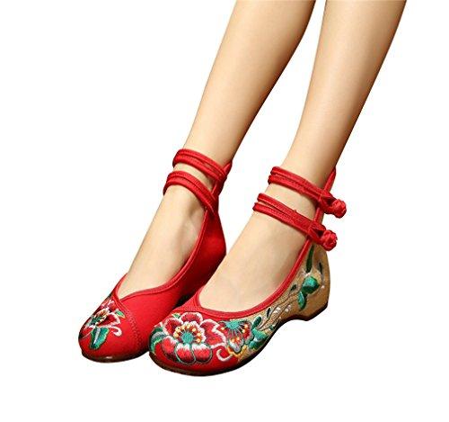 Bininbox Chinese Geborduurde Bloemen Platte Bruids Mary Jane Balletschoenen Rood