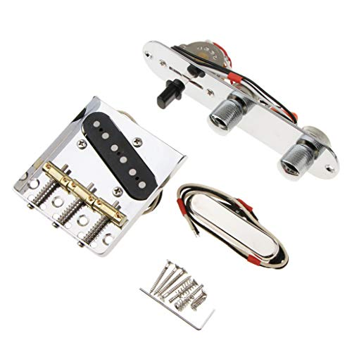 (6 Strings Saddle Bridge Plate, 3 Way Switch Control Plate, Neck Pickup Set for Fender Telecaster Electric Guitars Replacement Parts (Chrome) )