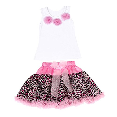 FEITONG® 1Set Baby Girls Tutu Dress Flowers Top+Skirt Leopard Outfits Clothes (Age:1-2Y, pink) (Pink Leopard Infant Costume)