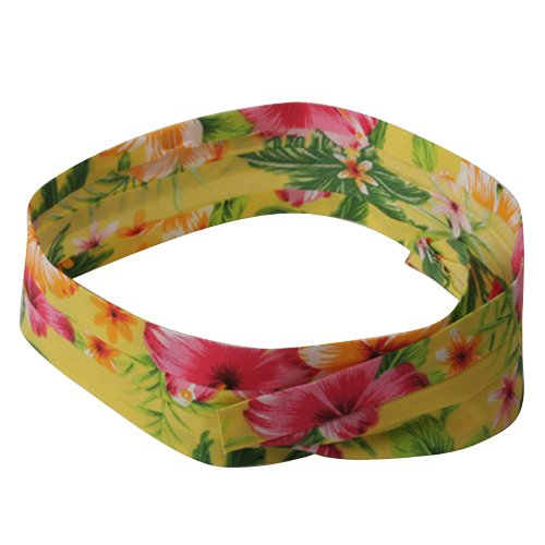 MG Pleated Palm Tree And Flower Hat Band-Yellow