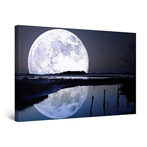 STARTONIGHT Canvas Wall Art - Full Moon Water Reflection, Sky Framed 32 x 48 Inches ()