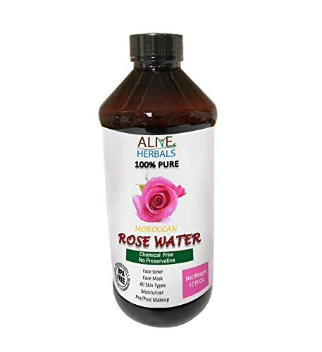 Natural Rose Water For Cooking 17 Oz. Food Grade 100% Natural Moroccan Rosewater (Chemical Free) Best Complete Facial & Skin Toner, Hair Oil, Moisturizer and Cleanser ()