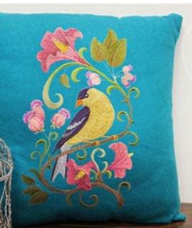 Naturaleza Weaved en hilos, increíble aves Reino [Jilguero en flores [Custom único y] bordado hierro en/coser parche 6.85