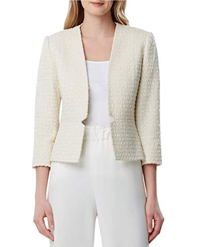 Tahari ASL Women's Collarless Waist Seam Jacket, Cream Boucle, -