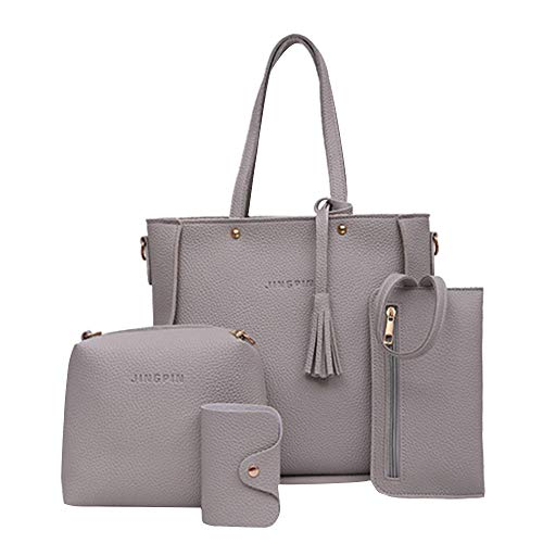 Womens Handbags Wholesale (Clearance Sale! Rakkiss Shoulder Bags Handbag Four Set Four Pieces Tote Bag Crossbody Wallet Bags)