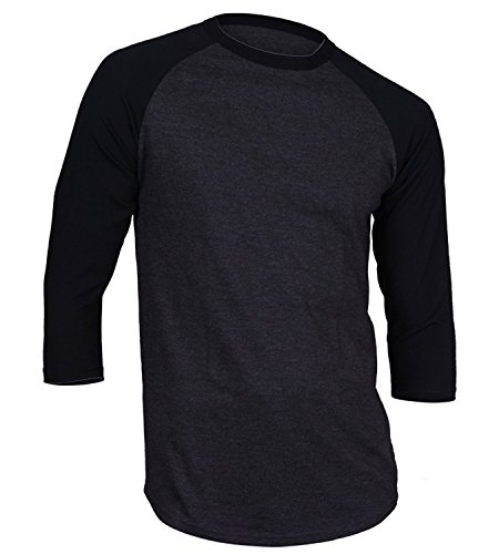 3/4 Sleeve Athletic Sport Shirt (Men's Plain Athletic 3/4 Sleeve Baseball Sports T-Shirt Raglan Shirt S-XL Team Jersey Charcoal Black)
