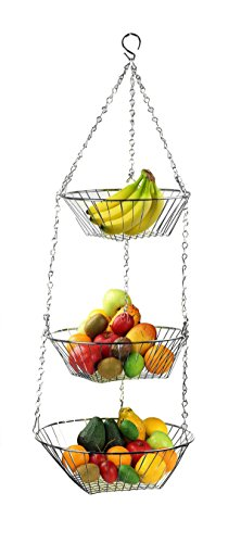 Classy Design Silver Chrome 3 Tiers Fruit Veg Hanging Basket Keep Unused Space While Keeping Your Counter Clear - Beyond Modern Brushed Nickel Bowl