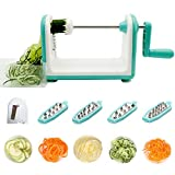 veggie to pasta - 5 Blade Spiralizer Professional Vegetable Spiral Slicer Spiral Cutter Fruit Zucchini Noodles Veggie Pasta and Spaghetti Maker for Low Carb Paleo Gluten-Free Easy to Clean (white)