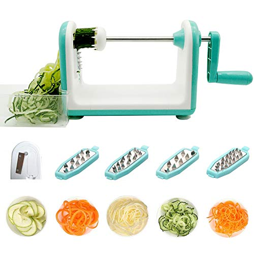 5 Blade Spiralizer Professional Vegetable Spiral Slicer Spiral Cutter Fruit Zucchini Noodles Veggie Pasta and Spaghetti Maker for Low Carb Paleo Gluten-Free Easy to Clean (white)