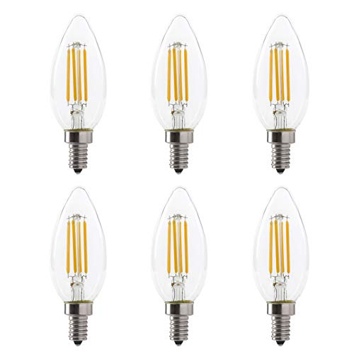 LED B11 5W Torpedo Filament Chandelier Light Bulb, 60W Equivalent, 500 Lumens, 2700K Soft White, Dimmable, 120V, E12 Candelabra Base, Energy Star, Clear (6 Pack)
