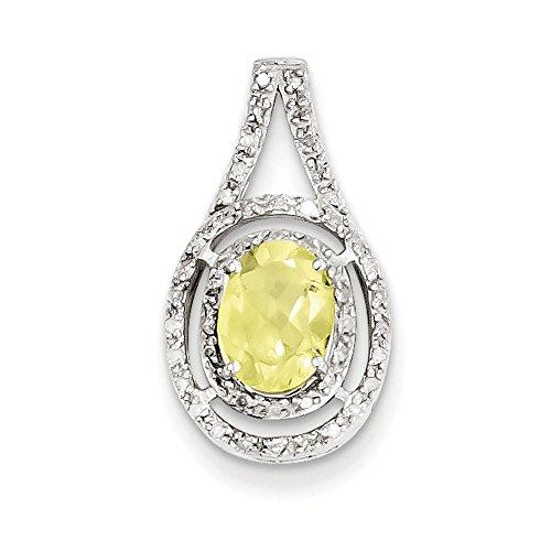 Argent Sterling diamant pendentif ovale et Quartz jaune JewelryWeb