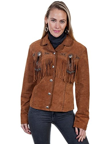 Scully Western Jacket Womens Leather Conchos Fringe M Cinnamon L152