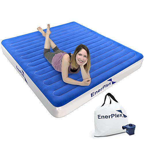 EnerPlex Never-Leak Camping Series Queen Camping Airbed with High Speed Pump Luxury Queen Size Air Mattress Single High Inflatable Blow Up Bed for Home Camping Travel 2-Year Warranty - Blue/White