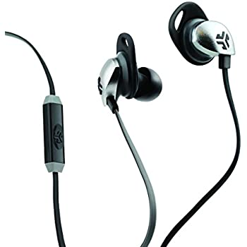 JLab Audio  Epic Earbuds with Massive 13mm C3 Drivers, Easy-to-Use Track Control, Customizable Cush Fins & GUARANTEED FOR LIFE - Black/Gray