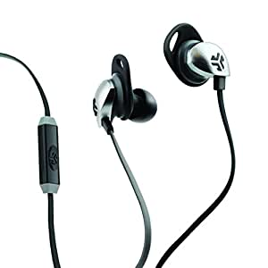 JLab Audio JBuds Epic Earbuds with Massive 13mm C3 Drivers, Easy-to-Use Track Control, Customizable Cush Fins & GUARANTEED FOR LIFE - Black/Gray
