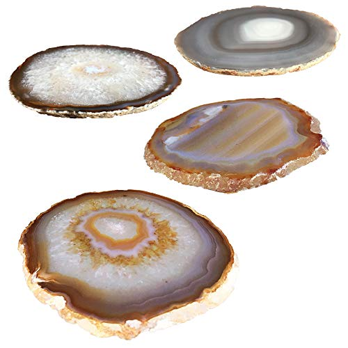 - Kooalo Agate Coasters- Set of 4 Unique and Beautiful Drink Coasters From Round Brazilan Agate Geodes.