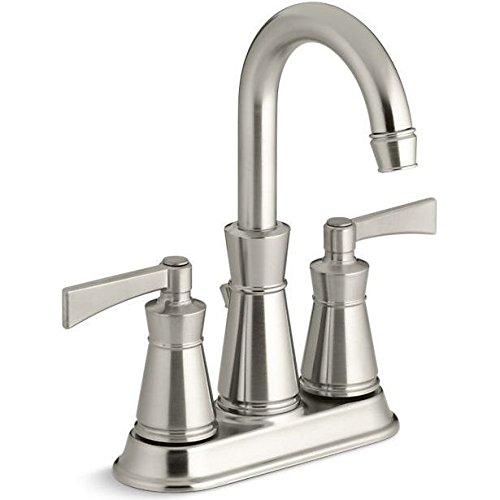 Kohler K-11075-4 Archer Centerset Bathroom Faucet - Free Metal Pop-Up Drain Asse, Brushed - Archer Lavatory