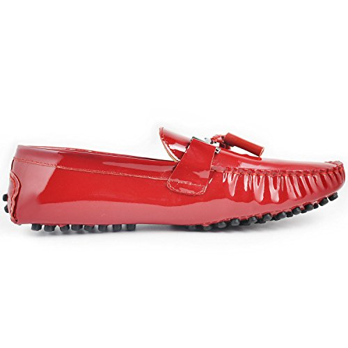 Fulinken Patent Leather Men Tassel Slip on Loafers Casual Shoes Diving Shoes Dress Shoe Red 2Qm58Epvw