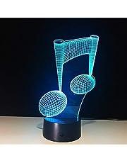 Luz nocturna 3D, cambio de color Lámpara LED Nota musical 3D Luz nocturna Nota musical Instrumento Luz Luminaria Decoración del hogar USB Led Música Amantes Regalo