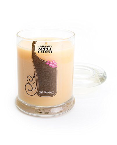 - Caramel Apple Cider Candle - Small Beige 6.5 Oz. Highly Scented Jar Candle - Made with Natural Oils - Bakery & Food Collection