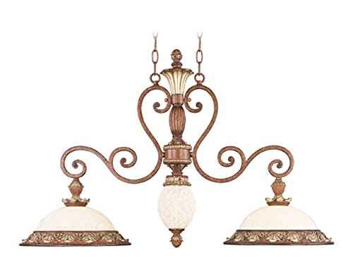 Venetian Patina 2 Light 200W Island / Billiard Light With Medium Bulb Base And Vintage Carved Scavo Glass From Savannah Series (Light Two Collection Savannah)