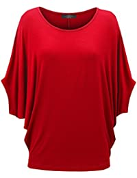 Womens Scoop Neck Half Sleeve Batwing Dolman Top - Made in USA