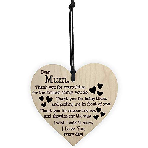 Gifts for Mum,Wooden Hanging Heart Plaque I Love You Mum Gifts Best Gifts for Mum Birthday Christmas Loving Thoughtful Present with Heart Shape and Warm Saying