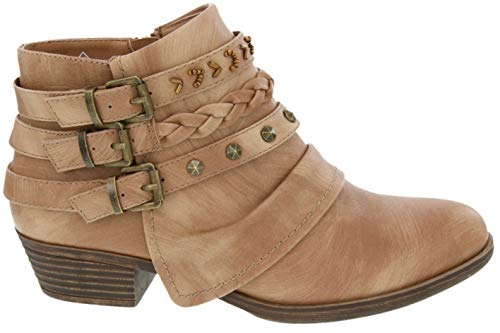 Rampage Women's Tabitha Triple Buckle Ankle Boot Ladies Side Zipper Bootie with Woven Wraparounds Studs and Overlay Tan 7.5 by Rampage (Image #1)