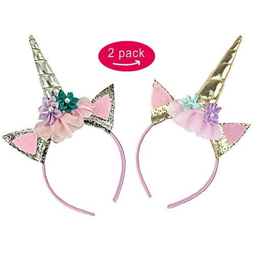 Glitter Unicorn Horn Headband,Flowers Ears Headbands for Christmas Party Decoration Cosplay or Adults Kids Girls Photos