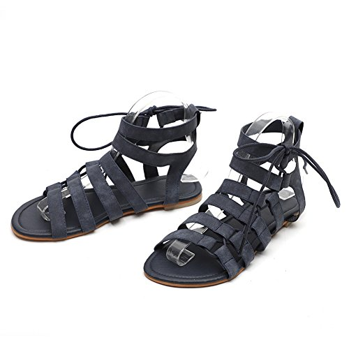 Nouvelle Taille Chaussures Plate Sandales Blue la Les Sandales Confortable Ronde Grande de Femmes Romaine Confortable Taille Tête de xie Sandales Ix4qpw05Uq