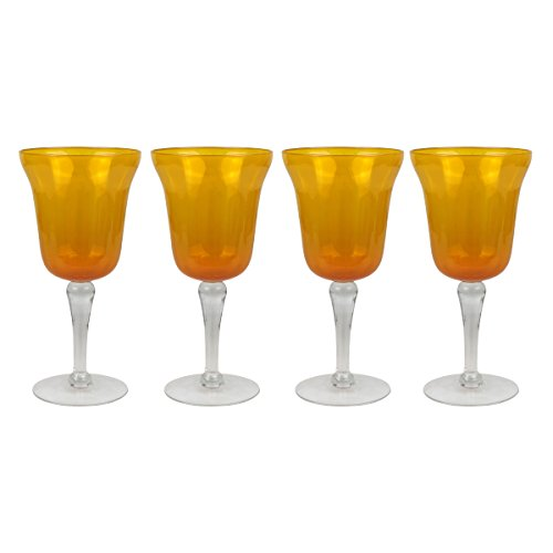 Top Shelf Decorative Amber Wine Glass Set with Gift Box, For Red or White Wine, Unique Gift Ideas for Birthdays, Mothers Day, Weddings, and Holidays, Set of 4 ()