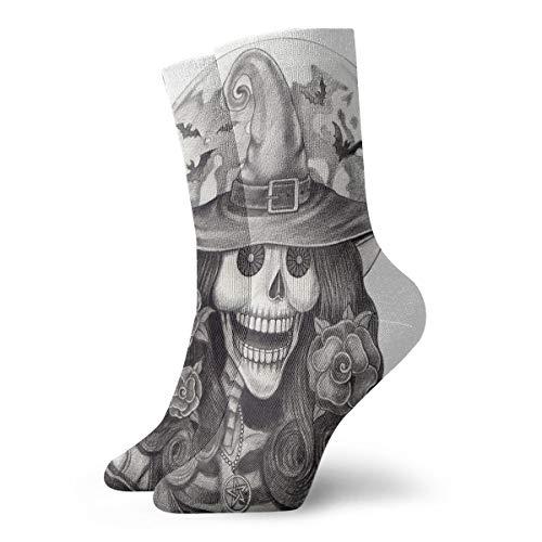 YIEOFH Halloween Art Witch Skull Novelty Boys Girls Fashion Cute Funny Casual Art Crew Socks