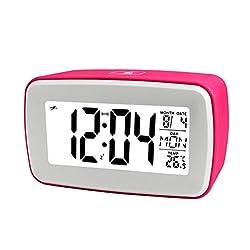 Touch Digital Recording Alarm Clock by Glovion Smart Luminous LCD Large Screen Bedside Alarm Snooze Clock Travel Alarm Clock-Pink