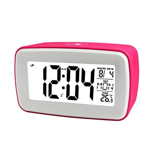 Glovion Touch Digital Recording Alarm Clock Smart Luminous LCD Large Screen Bedside Alarm Snooze Clock Travel Alarm Clock - Pink ()